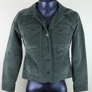 LL BEAN Womens Jacket Olive Green Soft Suede